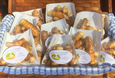 100g bags of fresh turmeric grown and sold by Within Radius